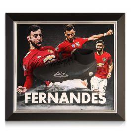 Bruno Fernandes Signed Black Football Boot Manchester United Presentation. Framed