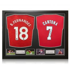 Bruno Fernandes And Eric Cantona Signed Manchester United Shirts. Dual Frame