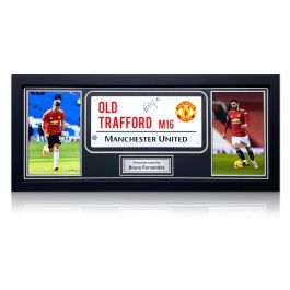 Bruno Fernandes Signed Manchester United Street Sign. Framed