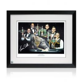 Framed Ronnie O'Sullivan Signed Snooker Photograph: Five Times World Champion Montage