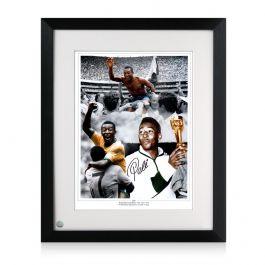 Framed Pele Signed Football Photo: Career Montage