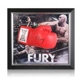 Tyson Fury Signed Red Boxing Glove In Deluxe Dome Frame