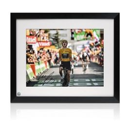 Geraint Thomas Signed And Framed Tour De France Photo: Alpe D'Huez Finishing Line