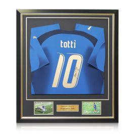 Francesco Totti Signed Italy 2006 World Cup Winners Football Shirt. Framed