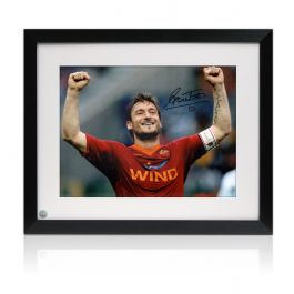 Framed Francesco Totti Signed AS Roma Photo: The Roman Emperor