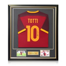 Francesco Totti Signed AS Roma Football Shirt 2015-16 Authentic. Framed