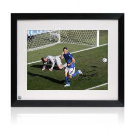 Francesco Totti Signed Italy Photo: World Cup Goal. Framed