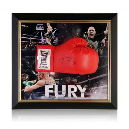 Tyson Fury Signed Red Boxing Glove. Framed