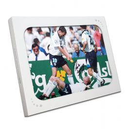 Paul Gascoigne Signed Football Photo: Dentist Chair Celebration. In Gift Box