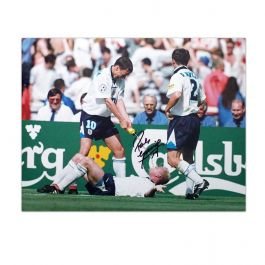 Paul Gascoigne Signed England Football Photo: Dentist Chair Celebration