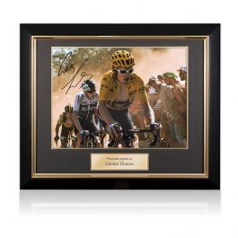 Geraint Thomas Signed Tour De France Photo: Dutch Corner In Deluxe Black Frame With Gold Inlay