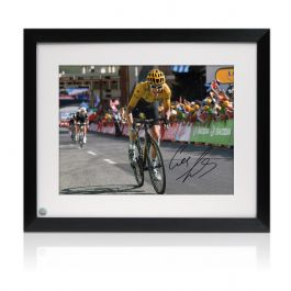 Framed Geraint Thomas Signed Tour De France Photo: Winning On Alpe D'Huez