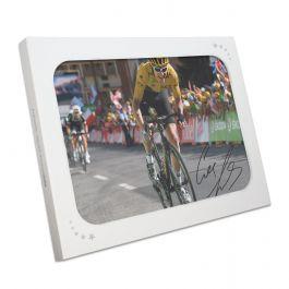 Geraint Thomas Signed Tour De France Photo: Winning On Alpe D'Huez In Gift Box