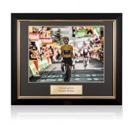 Geraint Thomas Signed Tour De France Photo: Alpe D'Huez Finishing Line In Deluxe Black Frame With Gold Inlay