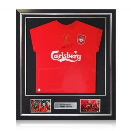 Steven Gerrard Signed Liverpool Champions League Shirt 2005. Framed