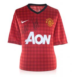 Ryan Giggs And Paul Scholes Signed Manchester United Football Shirt 2012-13