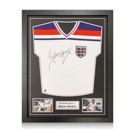 Glenn Hoddle Signed England 1982 Football Shirt. Standard Frame