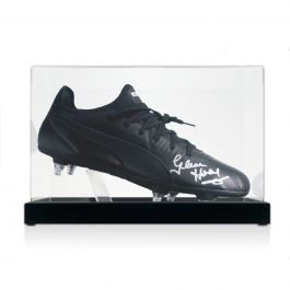 Glenn Hoddle Signed Football Boot. In Display Case