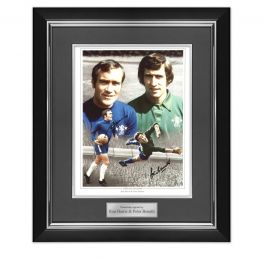 Ron Harris And Peter Bonetti Signed Chelsea Photo. Deluxe Frame