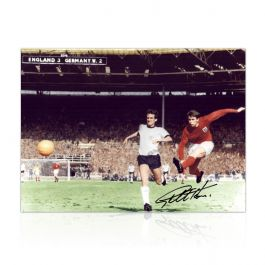 Geoff Hurst Signed England Football Photo: 1966 World Cup Third Goal