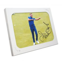 Ian Poulter Signed Ryder Cup Photo: 18th Hole Celebration. Gift Box
