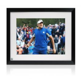 Ian Poulter Signed Ryder Cup Photo: Beating Dustin Johnson. Framed