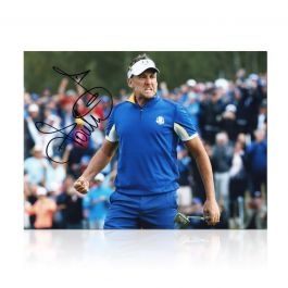 Ian Poulter Signed Ryder Cup Photo: Beating Dustin Johnson