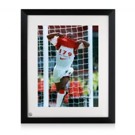 Ian Wright Signed Arsenal Photo: 179 Goals. Framed