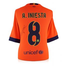 Andres Iniesta Signed 2014-15 Barcelona Away Shirt