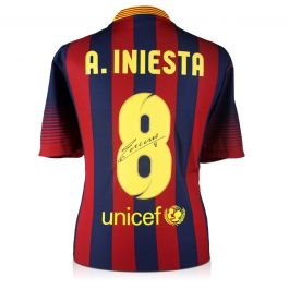Andres Iniesta Signed Barcelona Shirt 2013-14