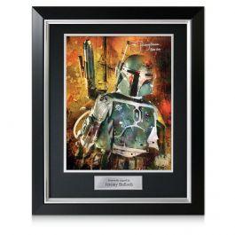 Boba Fett Signed Star Wars Poster: Bounty Hunter. Deluxe Frame