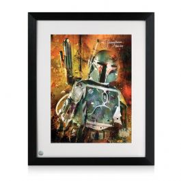 Framed Boba Fett Signed Star Wars Poster: Bounty Hunter