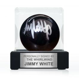 Jimmy White Signed Black Snooker Ball. In Display Case With Plaque