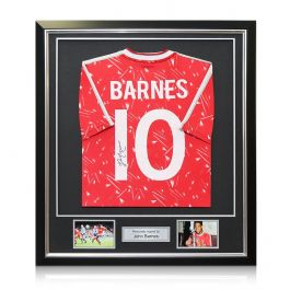 John Barnes Signed Liverpool Football Shirt 1989-91. Number 10. Framed