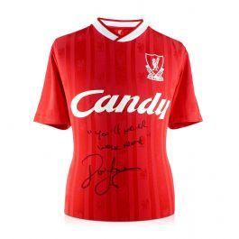 John Barnes Signed Liverpool Football Shirt 1988-89: YNWA.