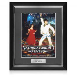 John Travolta Signed Saturday Night Fever Film Poster. Deluxe Frame