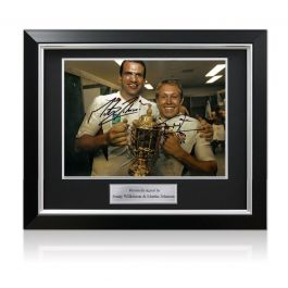 Jonny Wilkinson And Martin Johnson Signed 2003 Rugby World Cup Photo. Deluxe Framed (Large)