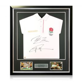 Jonny Wilkinson And Martin Johnson Signed England Rugby Shirt. Framed