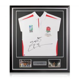 Jonny Wilkinson Signed Official England Rugby Shirt In Deluxe Black Frame With Silver Inlay