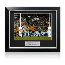 Jonny Wilkinson Signed 2003 Rugby World Cup Photo: The Drop-Kick. Deluxe Frame