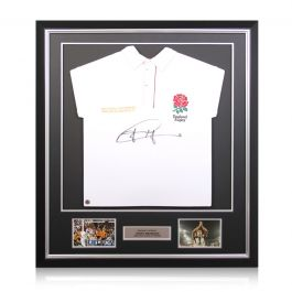 Jonny Wilkinson Signed England Rugby Shirt. Deluxe Frame
