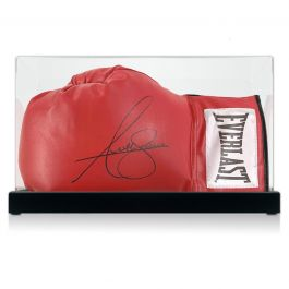 Anthony Joshua Signed Red Boxing Glove. In Display Case