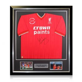Kenny Dalglish Signed 1985-86 Liverpool Home Shirt In Deluxe Black Frame With Silver Inlay