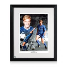 Kerry Dixon Signed Chelsea Photo. Framed