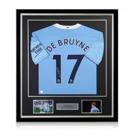 Kevin De Bruyne Signed Manchester City Shirt. 2020-21. Deluxe Frame