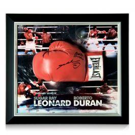 Sugar Ray Leonard And Roberto Duran Signed Boxing Glove. Framed