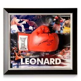 Sugar Ray Leonard Signed Boxing Glove. Framed