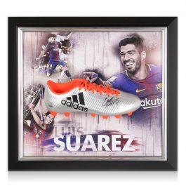 Luis Suarez Signed Football Boot: Framed Barcelona Presentation