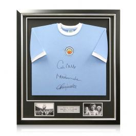 Manchester City Shirt Signed By Colin Bell, Francis Lee And Mike Summerbee In Deluxe Black Frame With Silver Inlay