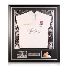Martin Johnson Signed England Rugby Shirt. Luxury Frame
